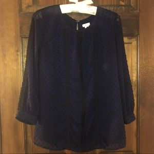 Like New J Crew Embroidered Navy Blouse 00